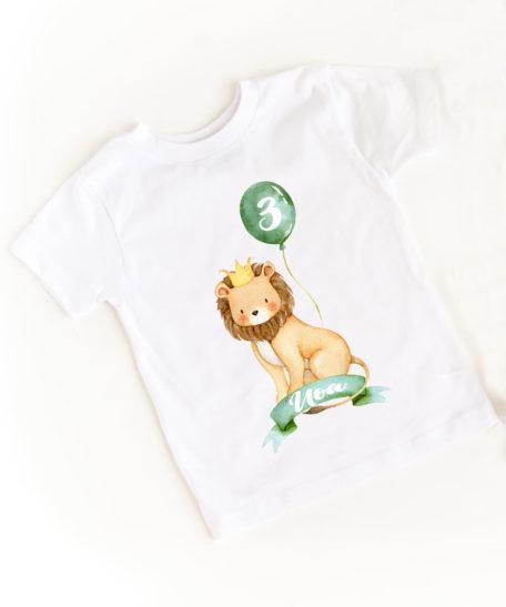 Verjaardag T-shirt met naam safari leeuw