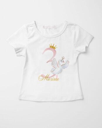 Verjaardag T-shirt voor meisjes – Zwaan