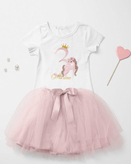 Verjaardag kleding roze met paard roze voor meisjes