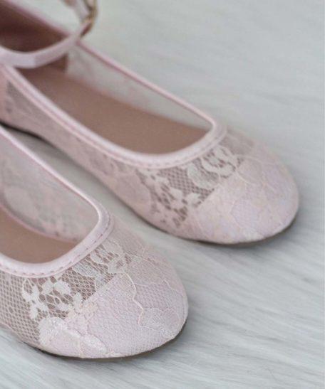 Lichtroze zachtroze bruidsmeisjes schoenen voor meisjes van kant