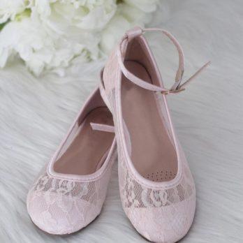 Ballerina's van kant met enkelbandje – Roze