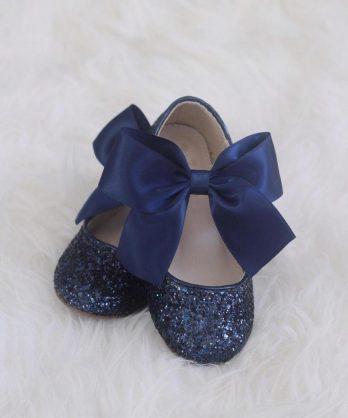 Donkerblauwe glitter schoenen voor meisjes met satijnen strik