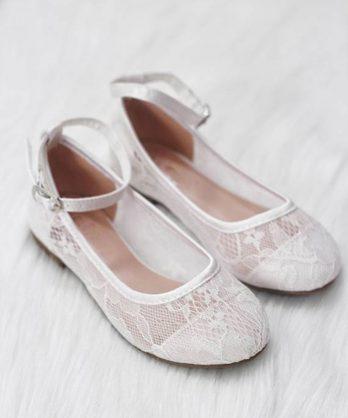 Ballerina's van kant met enkelbandje – Wit