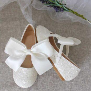 Ivoor glitter schoenen voor meisjes met satijnen strik