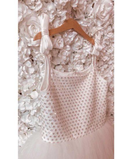 Feestjurk lang meisjes wit ivoor voor bruiloft trouw communie