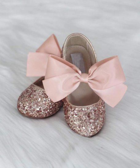 Oudroze schoenen meisje met glitter feest feestelijke schoentjes roze webwinkel