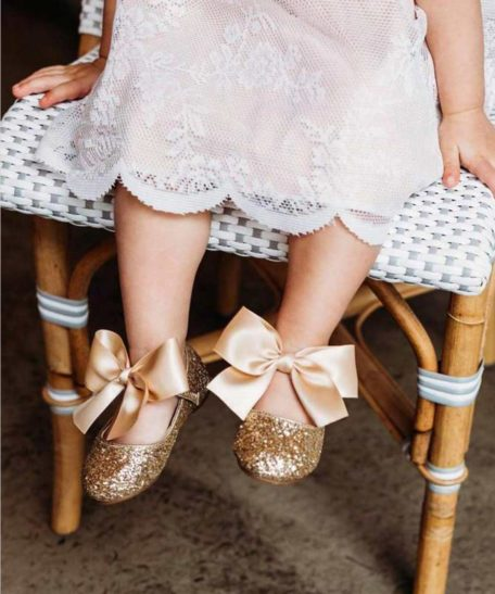 Bruidsmeisjes schoenen goud champagne kind baby babyschoenen met glitters