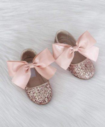 Rosé gouden glitter schoenen voor meisjes met satijnen strik