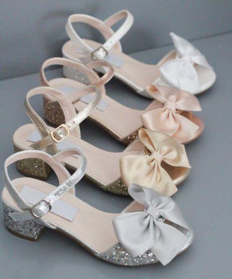 Hakschoentjes voor meisjes schoen met hakje in zilver goud roze en wit