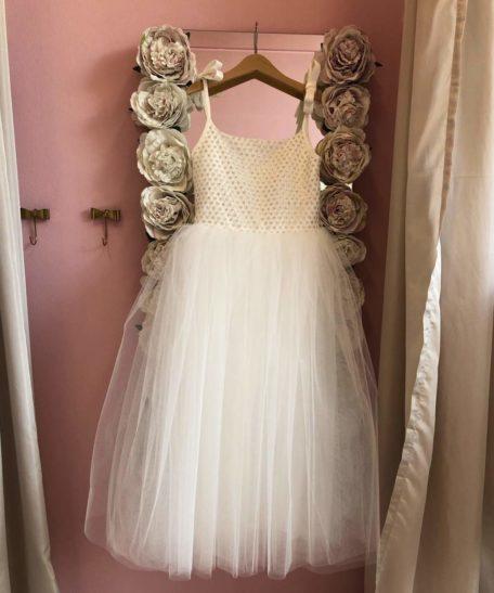 Lange feestjurk ivoor gebroken wit voor meisjes bruidsmeisjes communiekleed