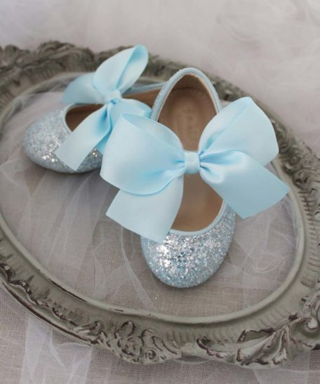 Lichtblauwe ballerina's met glitters voor meisjes online kopen