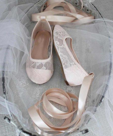 Ballerina meisjes schoenen lint om de benen feestschoen