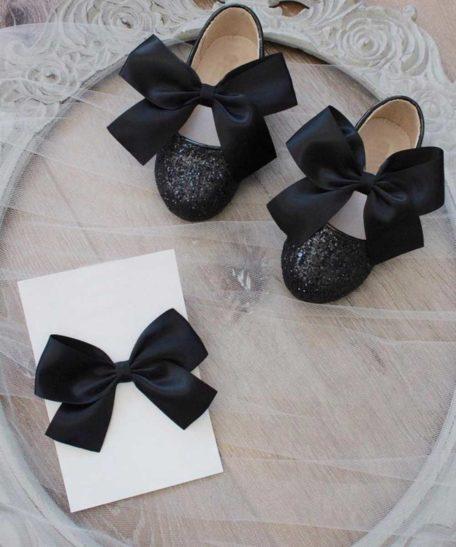 Zwarte glitter schoentjes voor meisjes kind met bijpassende haarstrik