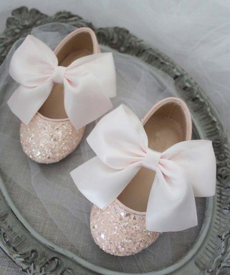 Lichtroze glitter feestschoenen voor meisjes kinderen met strik voor bruidsmeisjes