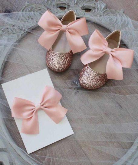 Oudroze roze glitter feest schoentjes voor meisjes met haarstrik online kopen