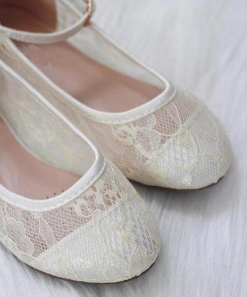Ballerina's van kant met enkelbandje – Ivoor