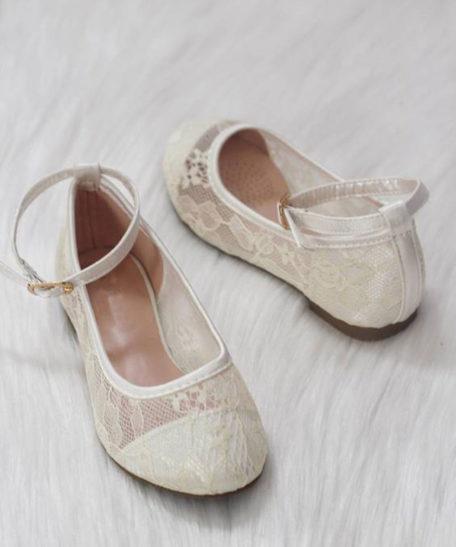 Schoenen voor bruidsmeisjes plat communieschoenen koop gebroken wit ivoor