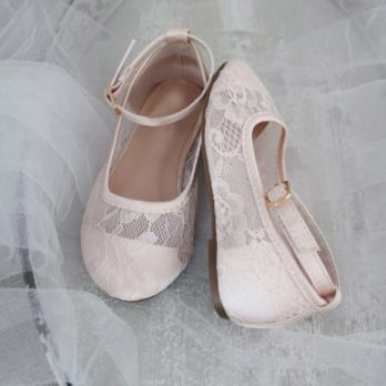 Ballerina's van kant met enkelbandje – Zachtroze