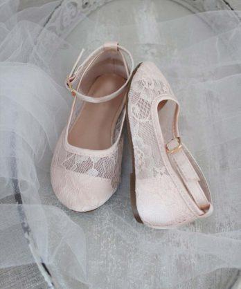 Ballerina's van kant met enkelbandje – Lichtroze
