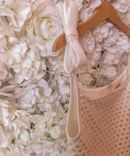 Bruidsmeisjes jurk met strik ivoor