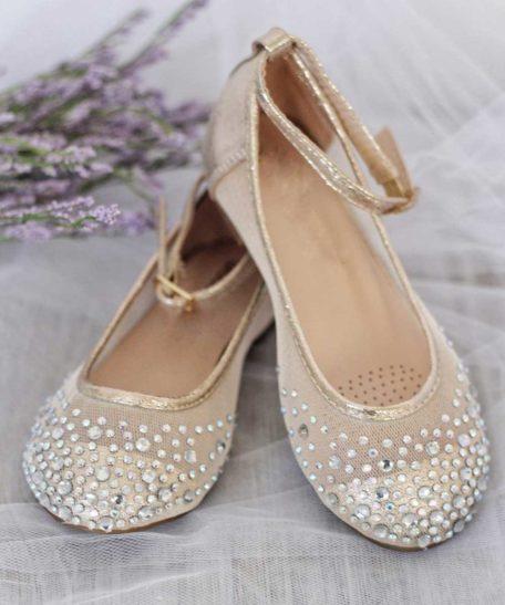 Gouden kinderen schoenen met strass steentjes glitter