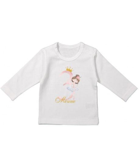 T-shirt voor jarig meisje ballerina dansers roze met goud lange mouwen
