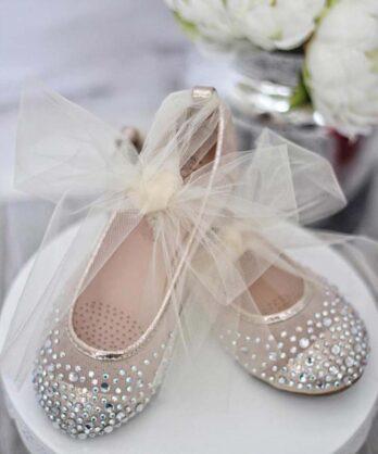 Ballerina's met strass steentjes en tule – Goud