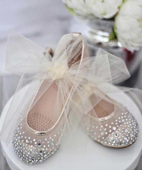 Gouden ballerina's voor meisjes met strass steentjes glitter
