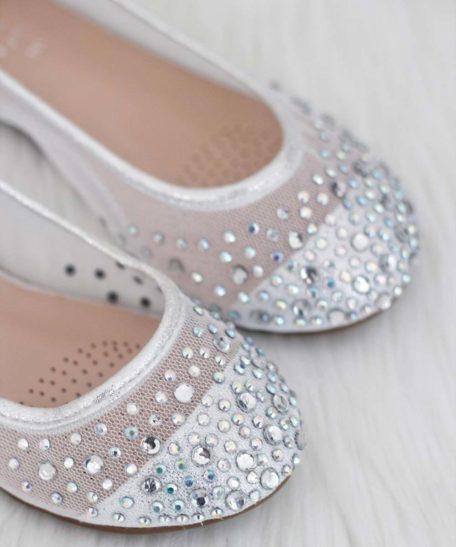 Kinder ballerina's met glitters stress steentjes zilver