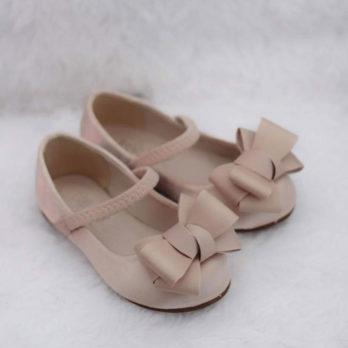 Meisjes ballerina schoenen met strik – Champagne