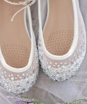 Ballerina's met strass steentjes – Wit