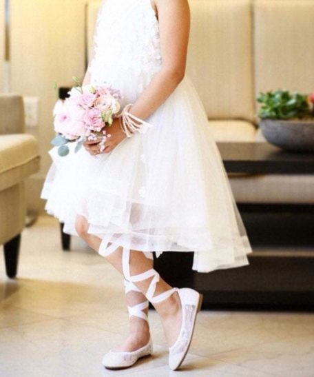 Bruidsmeisjes schoenen met lint om het been voor kinderen communieschoen voor meisjes