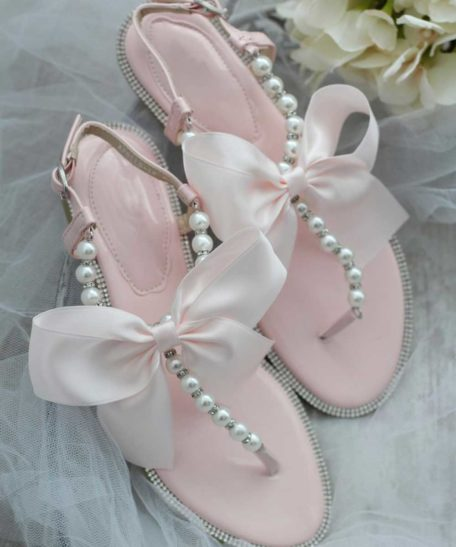 Lichtroze slippers voor meisjes voor feest bruiloft communie