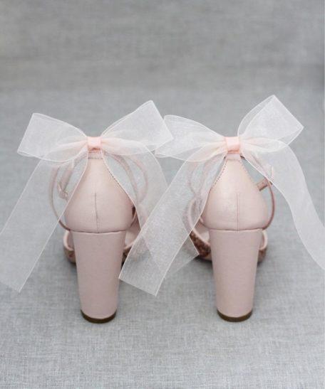 Bruidsschoenen feestschoenen dames met hak roze lichtroze