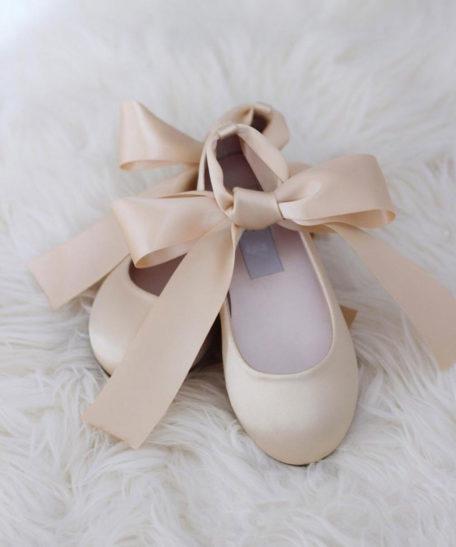Champagne gouden ballerina's voor meisjes voor een feest