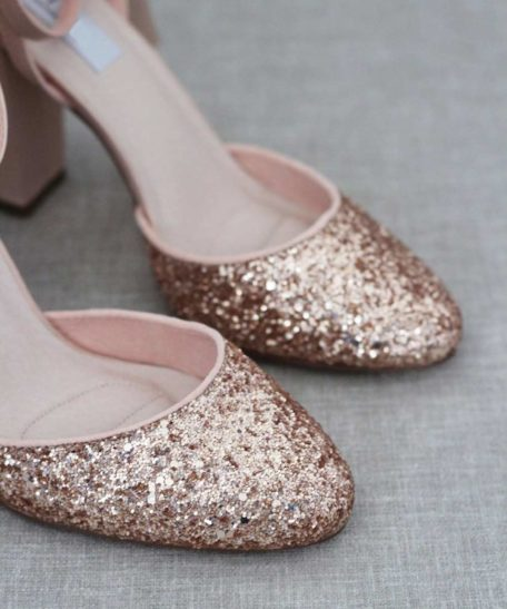 Rosé gouden glitter schoenen dames