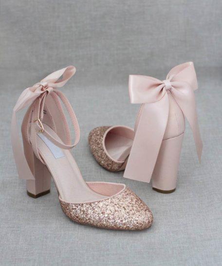 Rosé gouden hak schoenen dames met strik en glitter