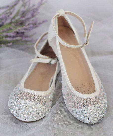 platte schoentjes voor meisjes met glitter steentjes