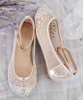 Ballerina's met strass steentjes – Goud