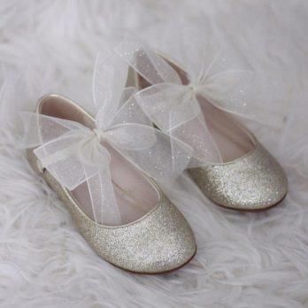 Glitter schoentjes voor meisjes met chiffon strik – Goud