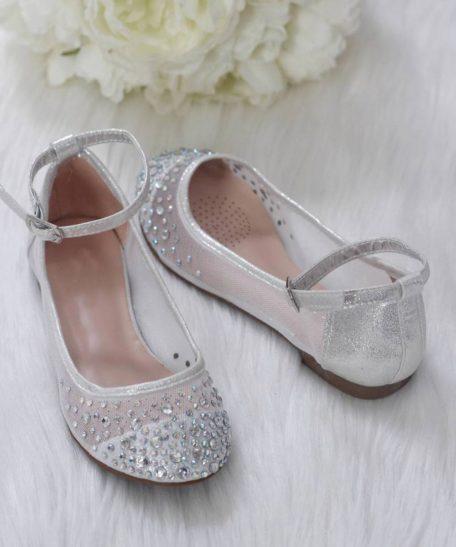 Kinderfeest schoenen in zilver met strass steentjes