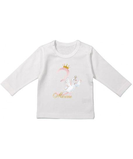 Lange-mouw-verjaardag-T-shirt-zwaan-met-naam