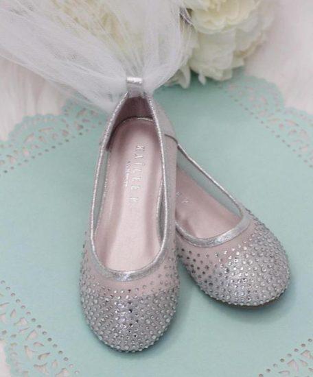 Meisjes ballerina zilver met glitters steentjes zilver