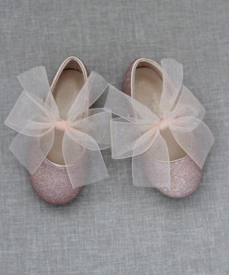 Roze glitter schoenen voor meisjes feestelijk met strik
