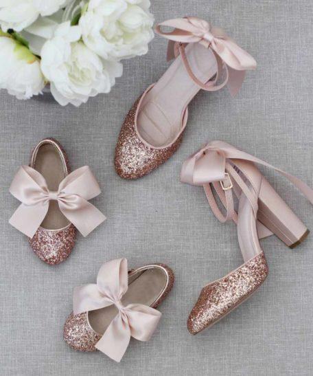 Mommy & me schoenen oudroze mama en dochter dezelfde schoenen