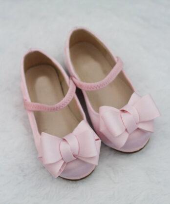 Meisjes ballerina schoenen met strik – Roze