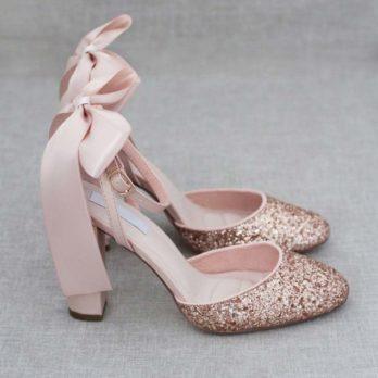 Glitter dames schoenen met hak – Rosé goud