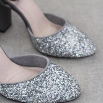 Glitter dames schoenen met hak – Grijs