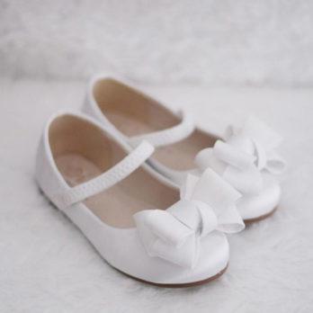 Meisjes ballerina schoenen met strik – Wit