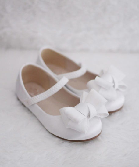 Witte ballerina schoentjes voor meisjes met strik
